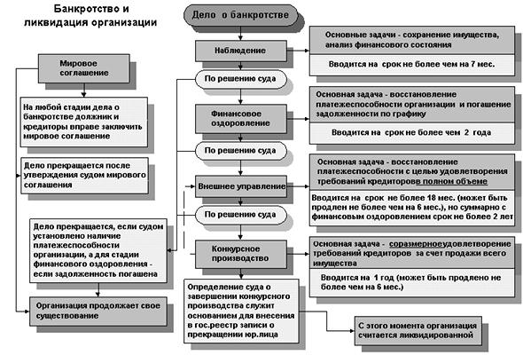Этапы банкротства организации